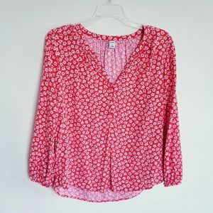 Old Navy Orange and White Floral V-Neck 3/4 button